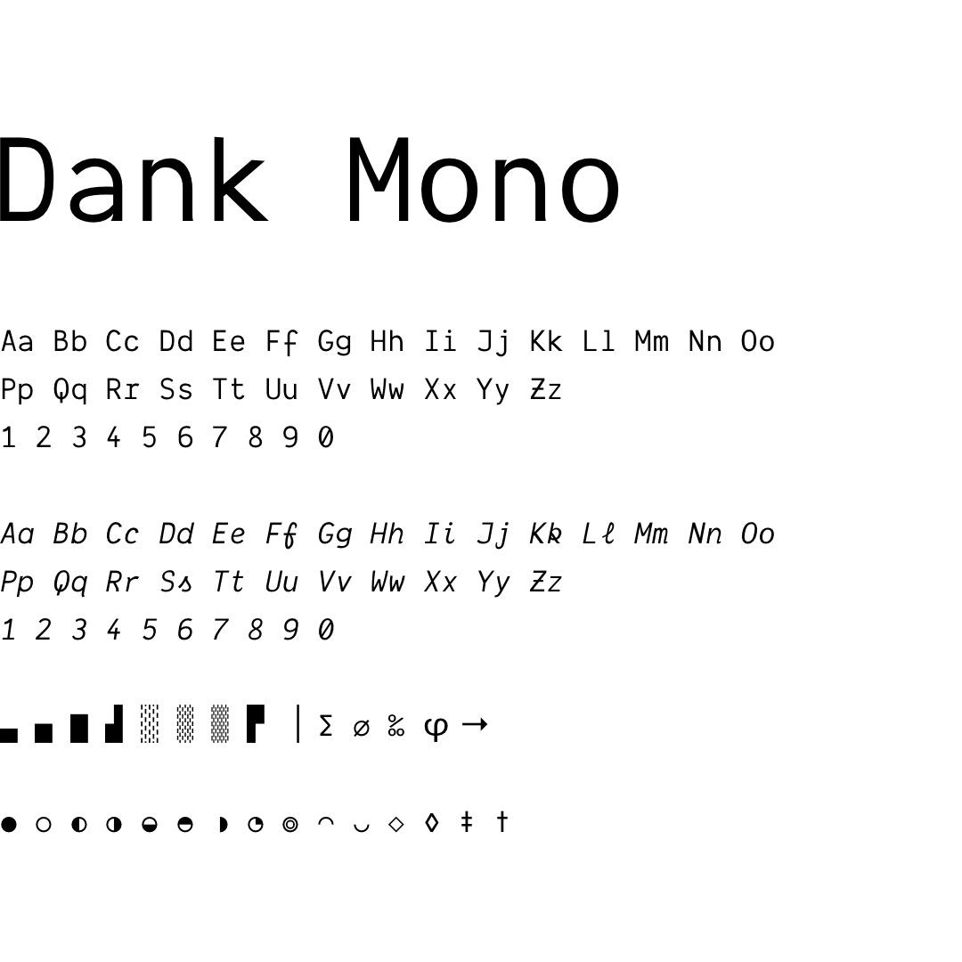 Dank Mono typography and logo font